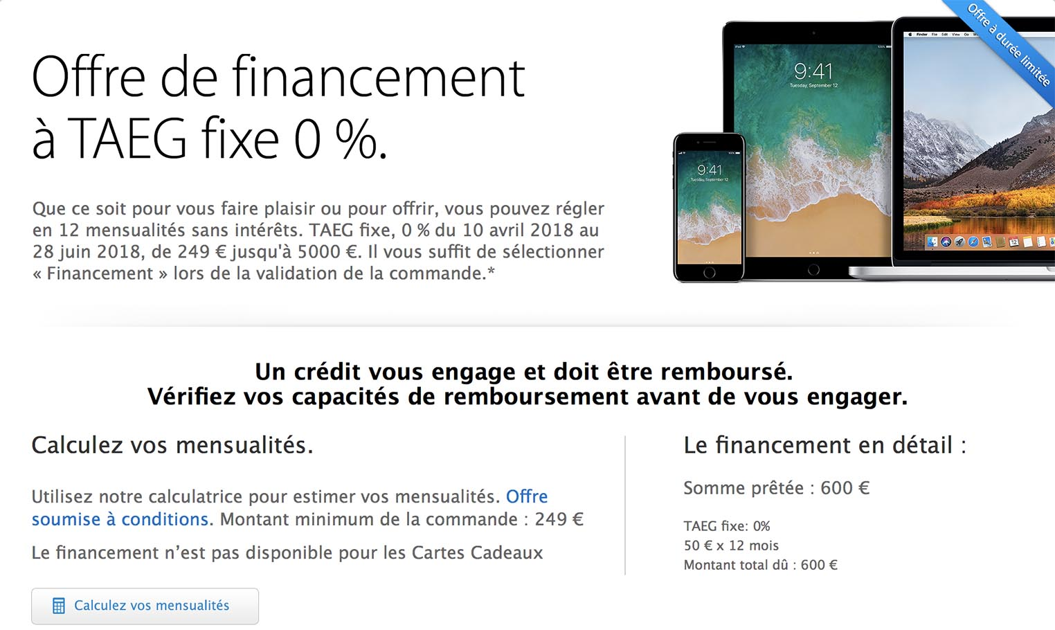 Financement crédit Apple Store 0%