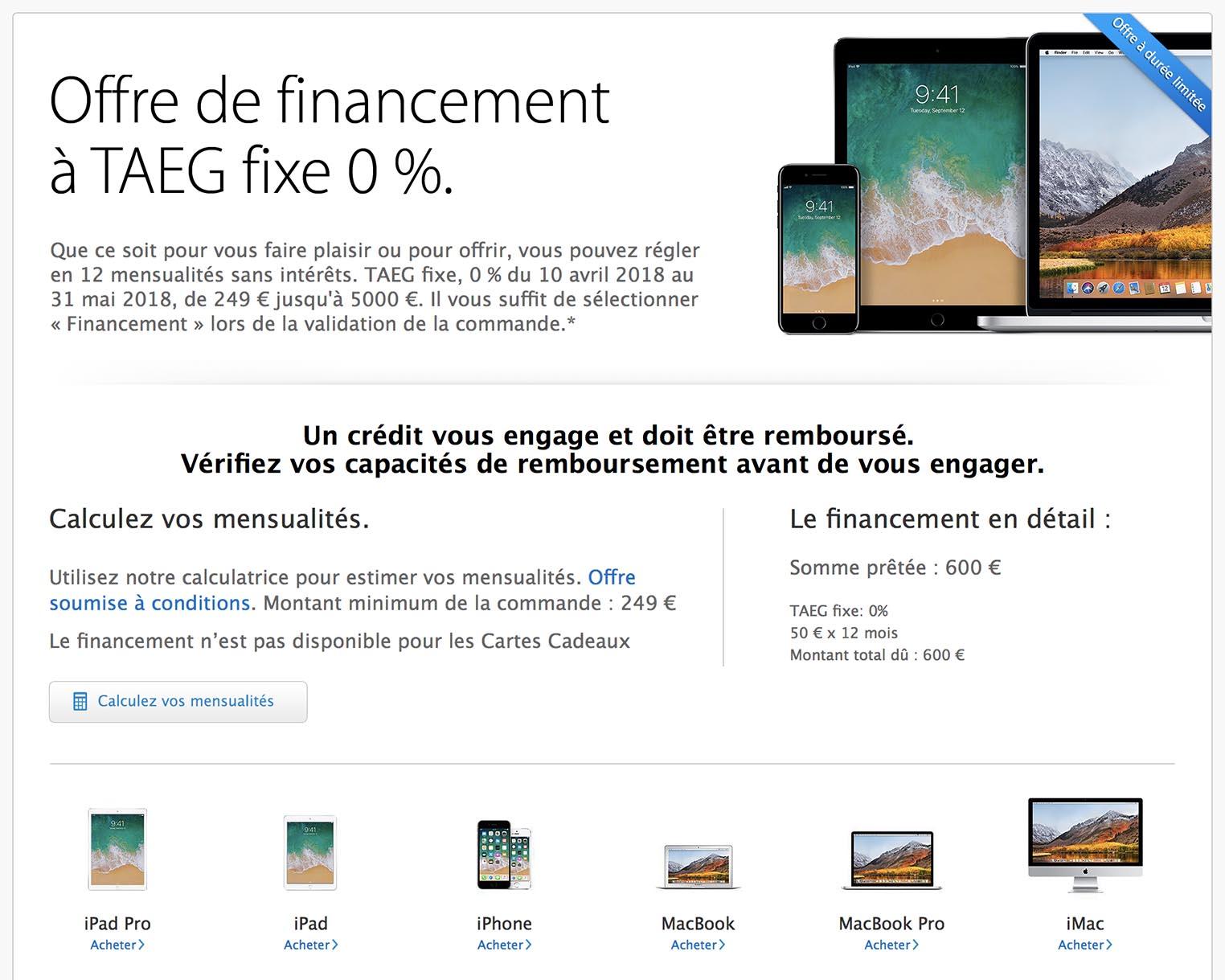 Offre crédit sans frais Apple Store