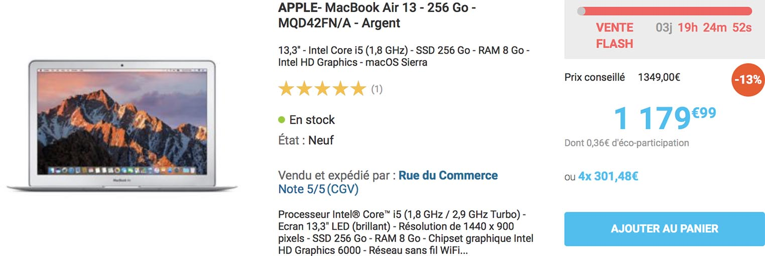 Vente flash MacBook Air Rue du Commerce