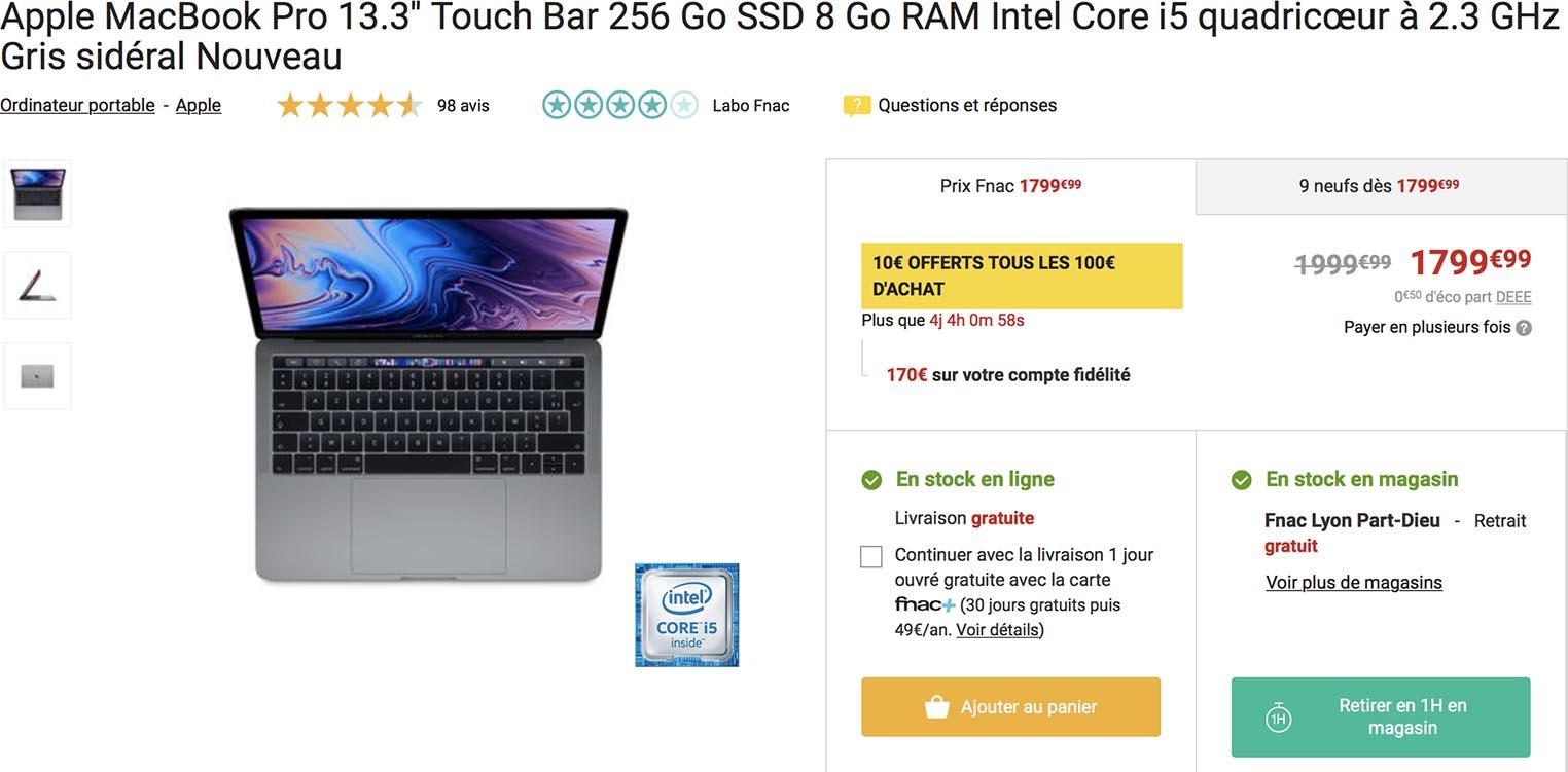 Promo MacBook Pro Fnac