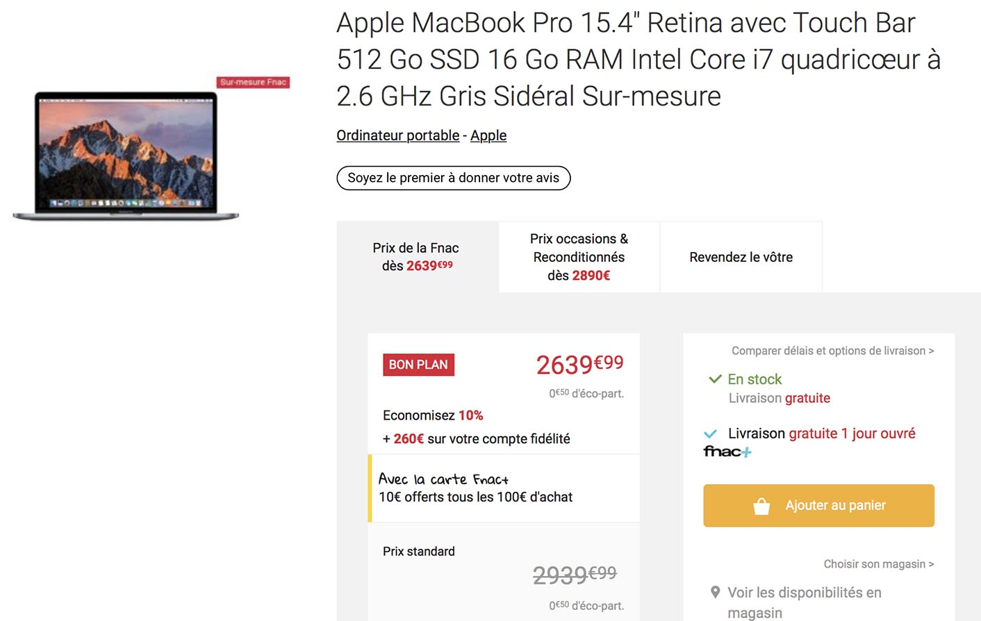 MacBook Pro 2016 promo Fnac