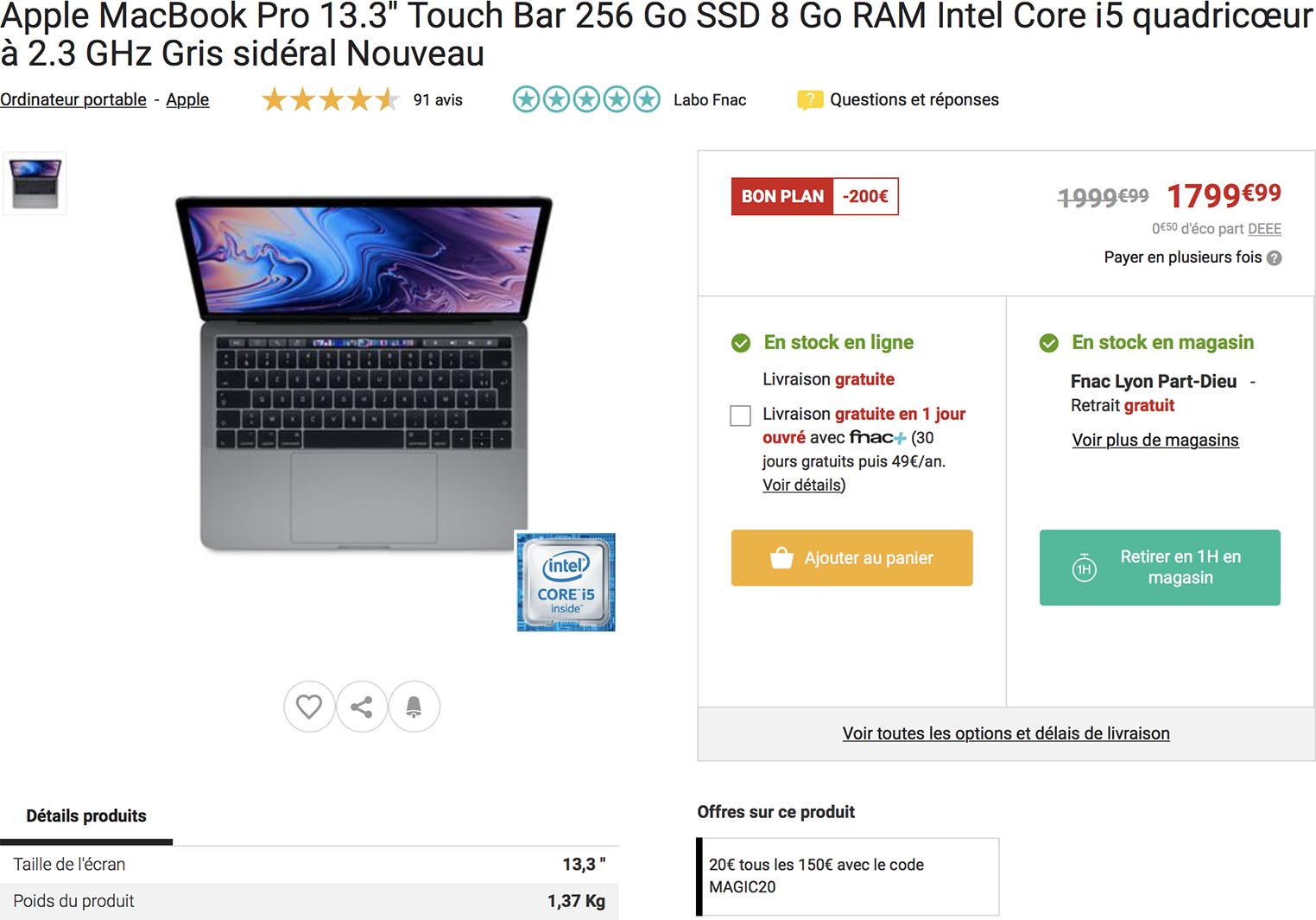 Fnac vente flash MacBook Pro