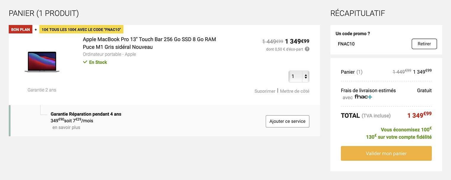 MacBook Pro M1 promo Fnac