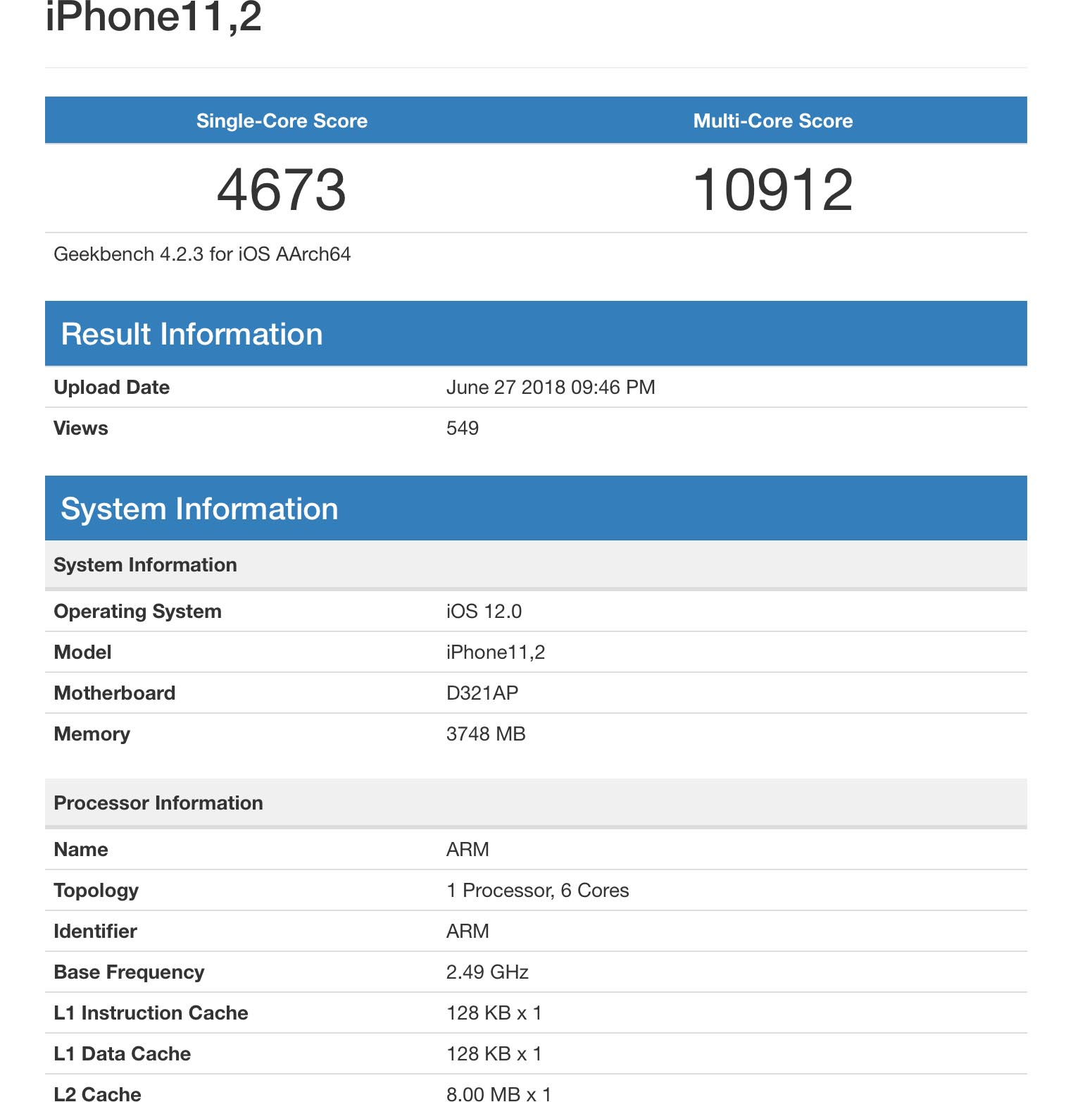 GeekBench iPhone 2018