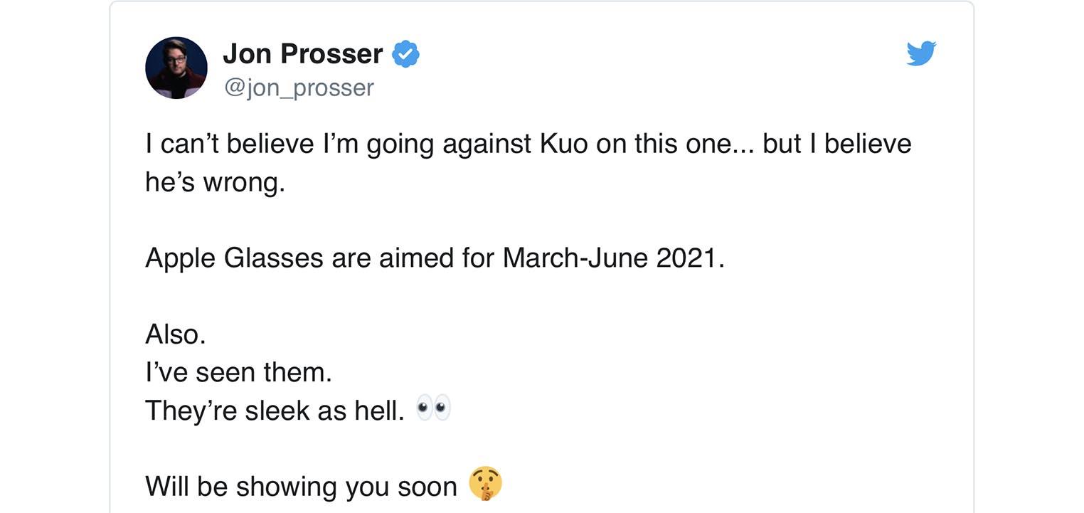 Tweet Jon Prosser lunettes Apple