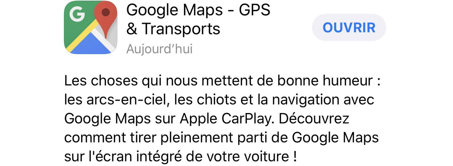 Google Maps CarPlay mise à jour