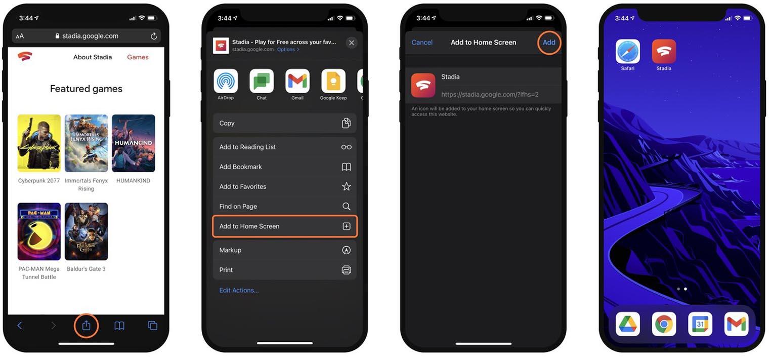 Google Stadia sur iOS