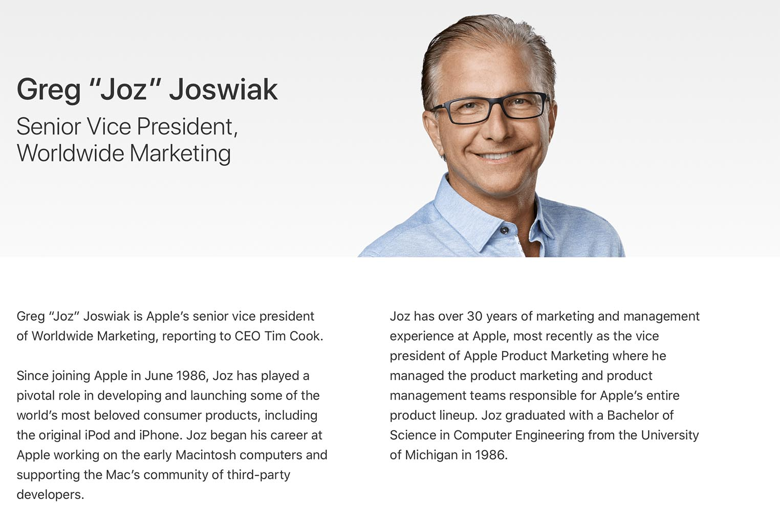 Greg Joswiak profil