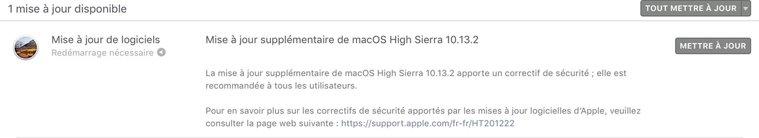 macOS High Sierra mise à jour Spectre