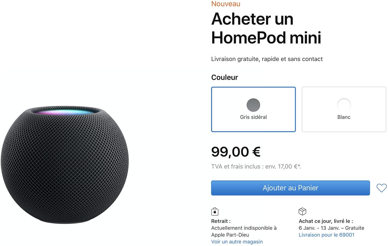 HomePod mini délais Apple Store
