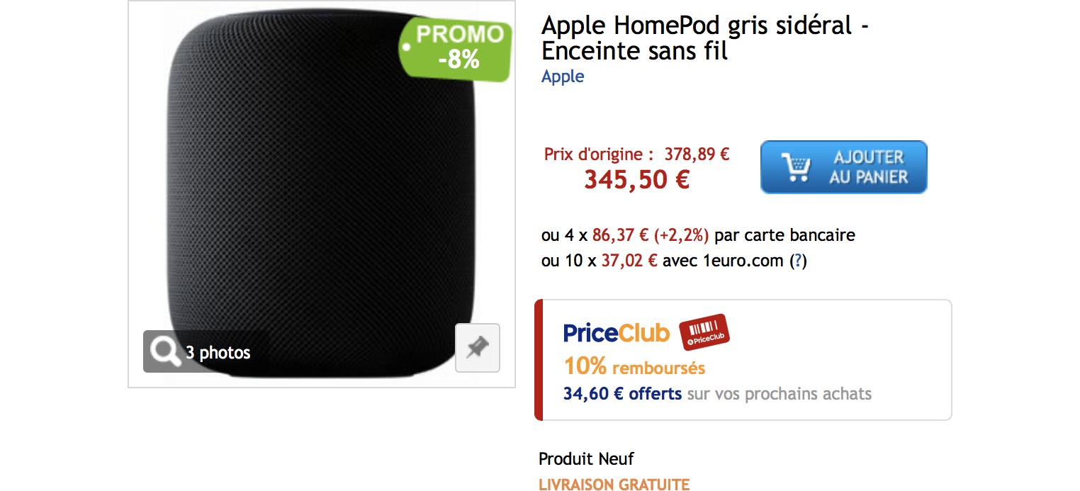 HomePod promo PriceMinister