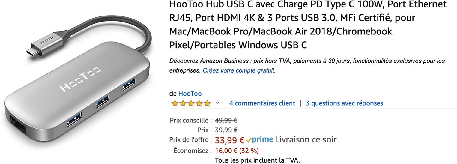 USB-C Hootoo vente flash Amazon
