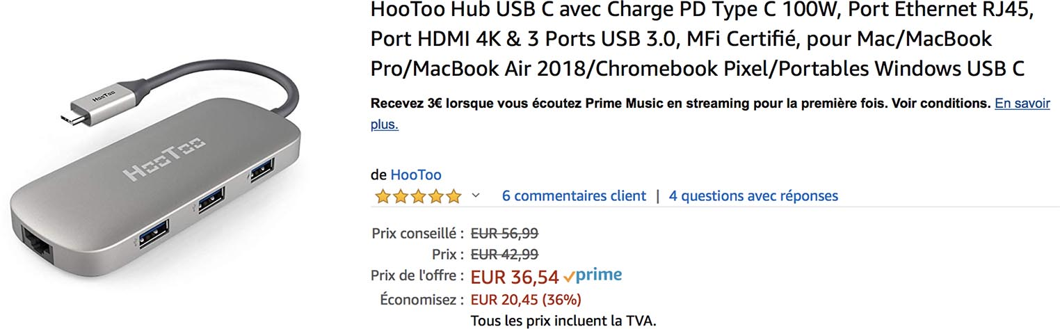 Hootoo USB-C hub Ethernet
