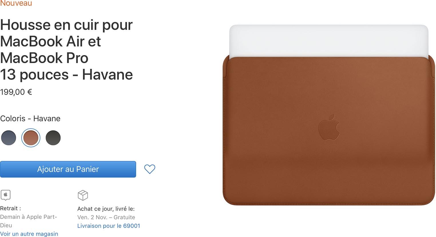 Housse cuir MacBook Air 2018