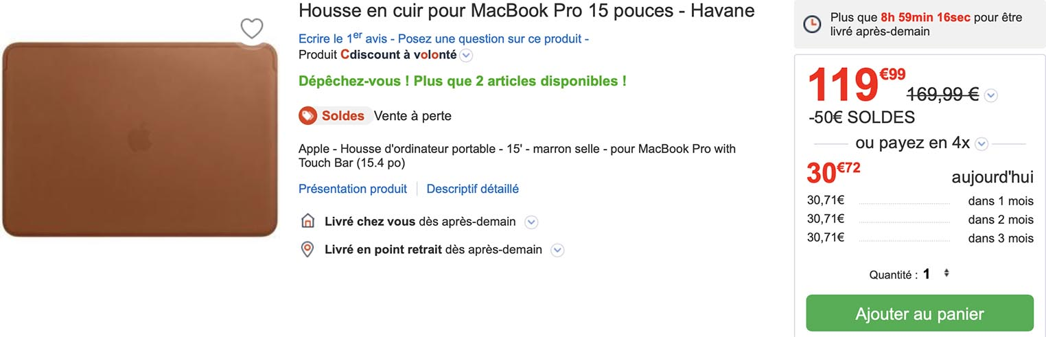 Housse cuir MacBook Pro 15,4 CDiscount