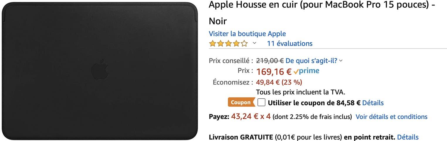 Promo Amazon Housse cuir MacBook Pro 15 pouces