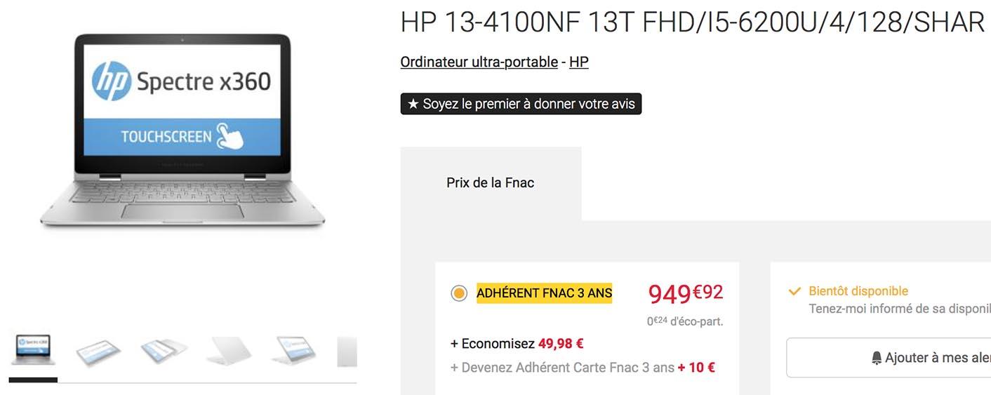 HP Spectre X360 Skylake