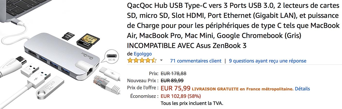Hub USB-C Ethernet QacQoc Amazon