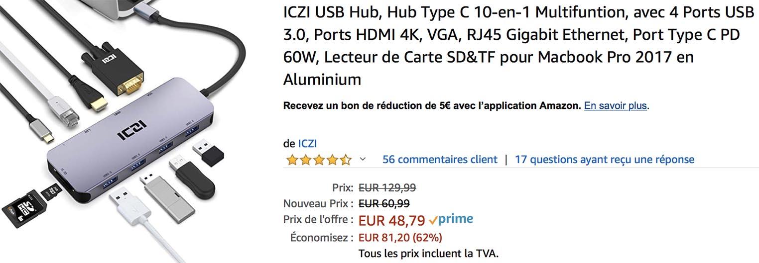 Hub USB-C vente flash Amazon