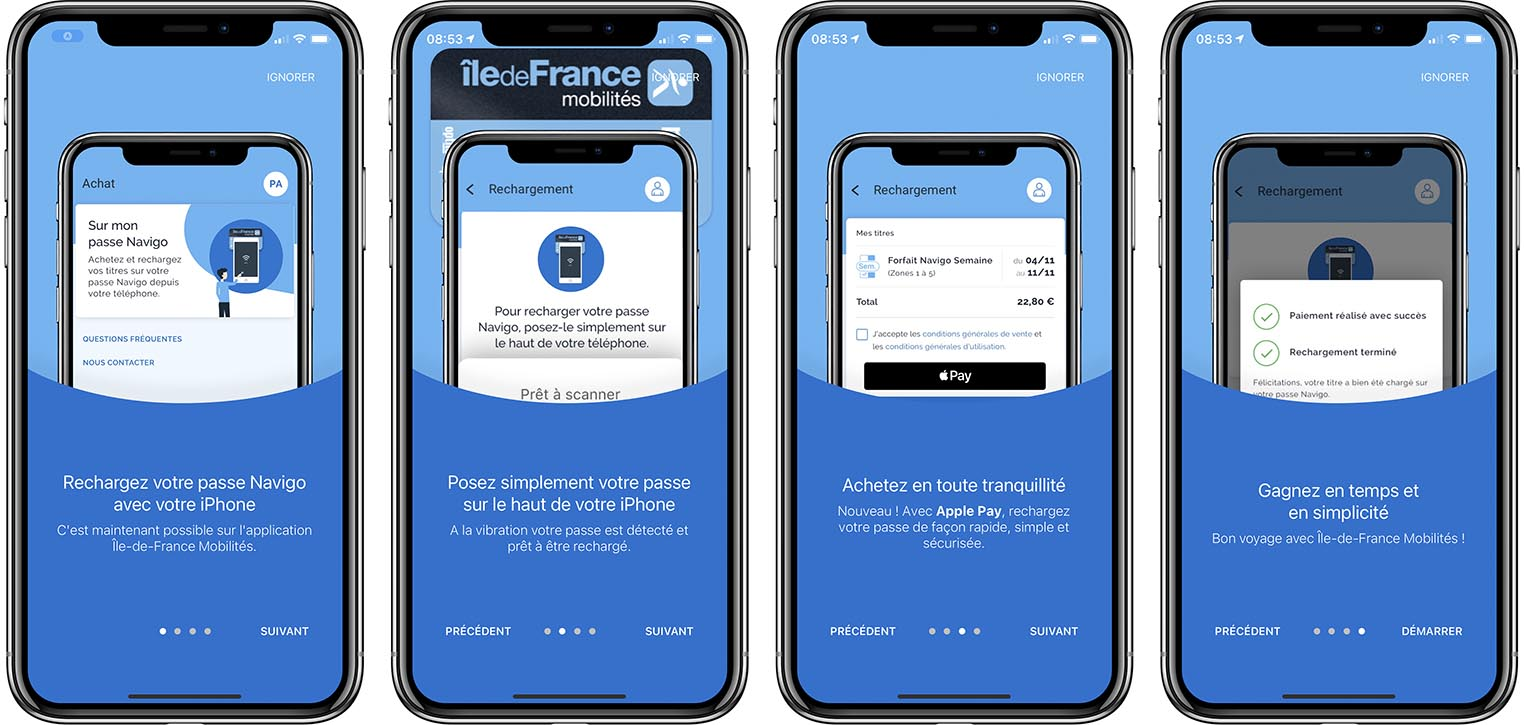 Ile de France Mobilités recharge NFC Navigo iPhone