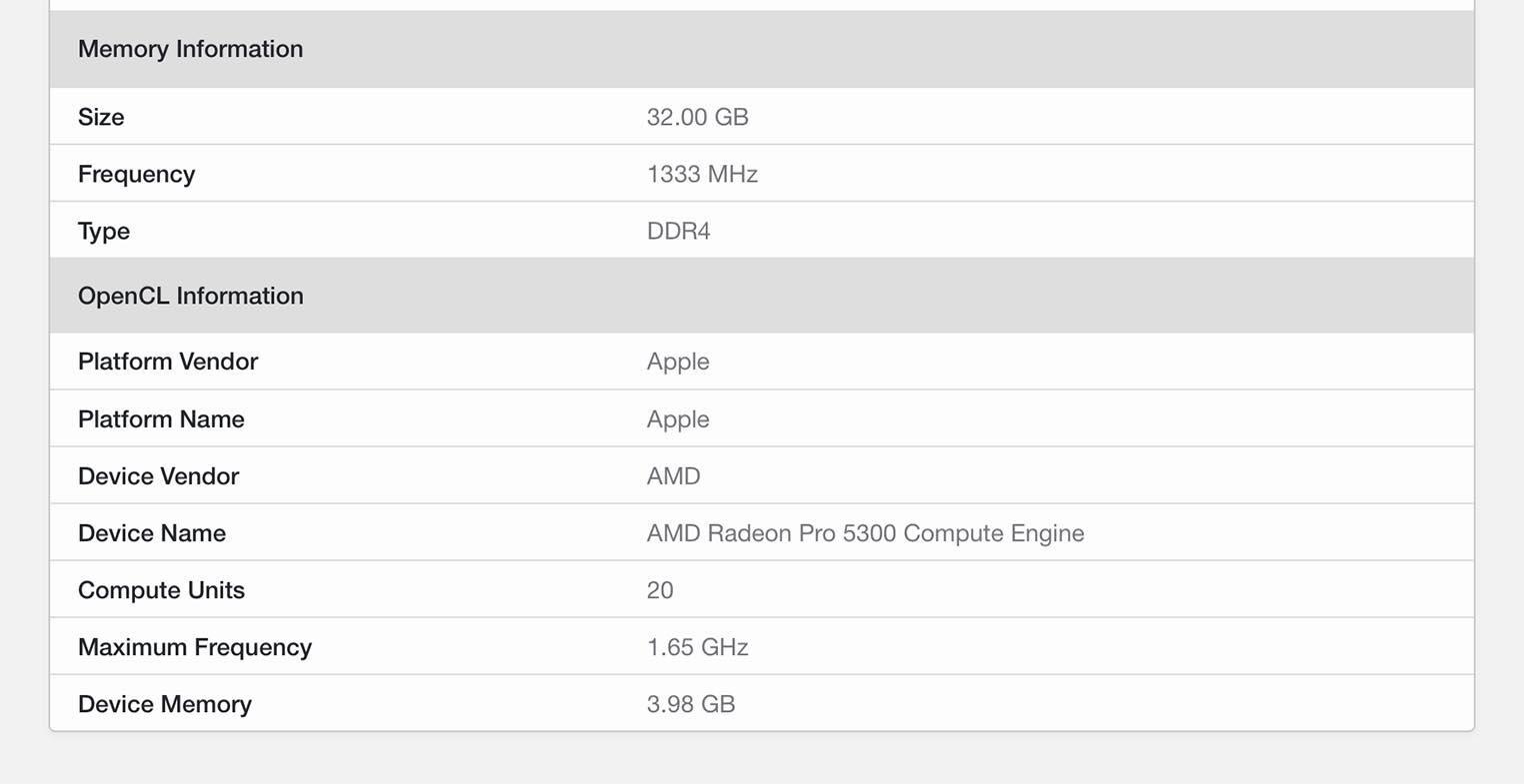 iMac 2020 Geekbench