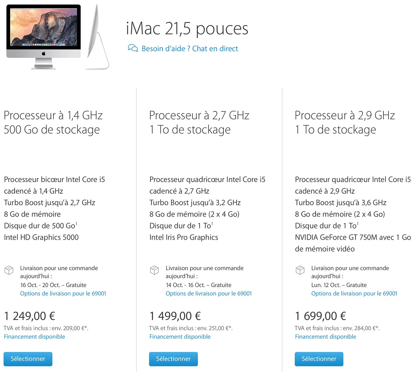Délais iMac 21 pouces