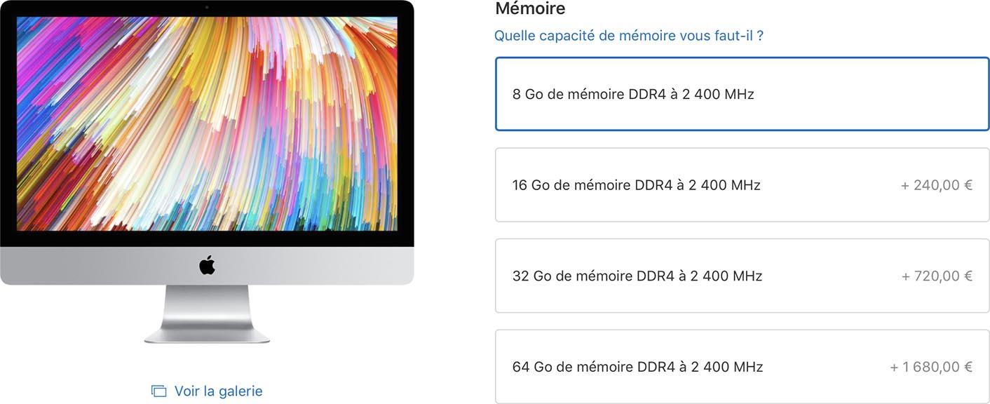 iMac 27 pouces 2017 mémoire vive