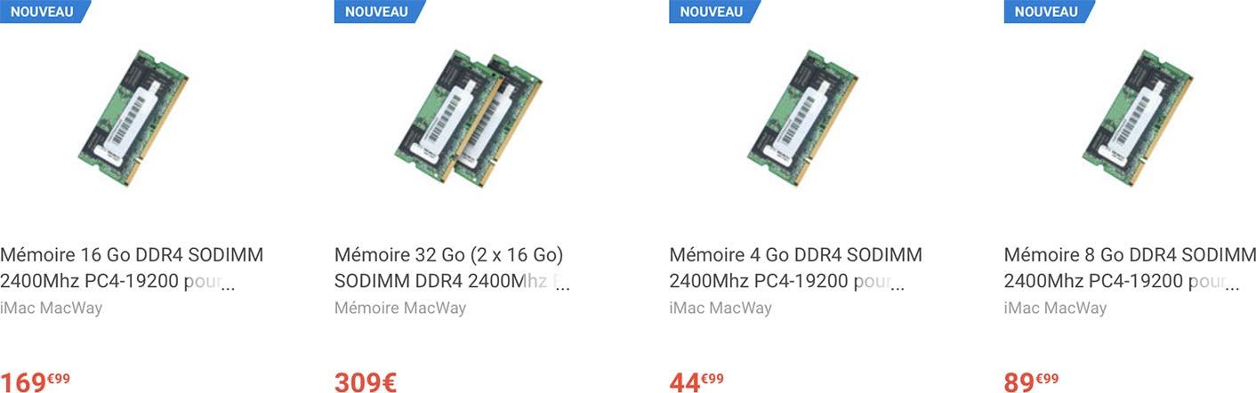 iMac mémoire vive DDR4 MacWay