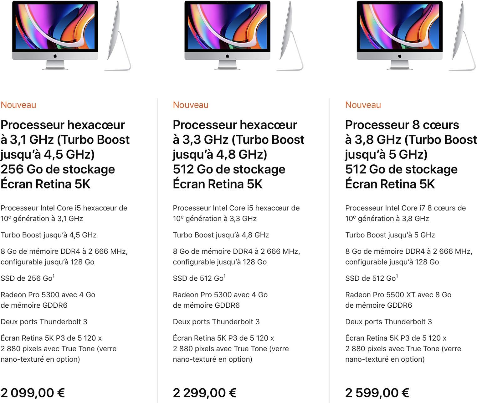 iMac 27 pouces 2020 specs