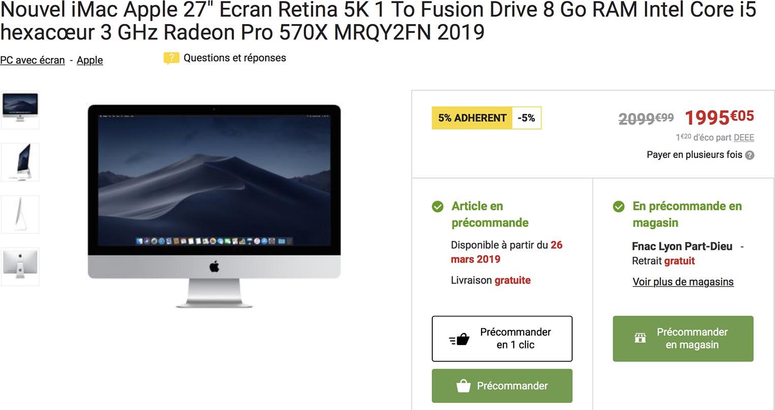 iMac 2019 Fnac