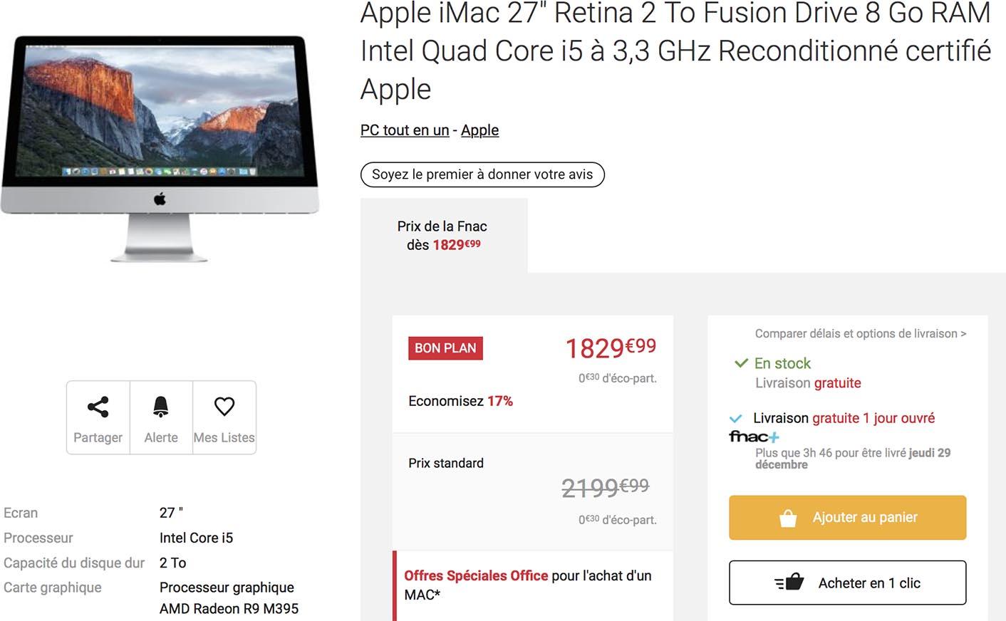 iMac 5K reconditionné Fnac