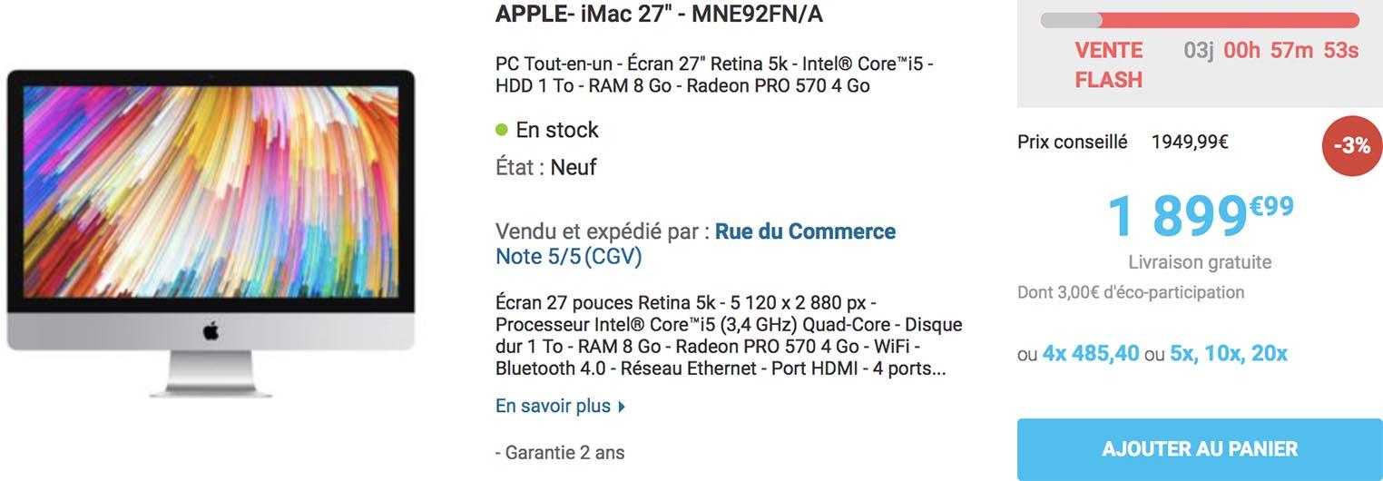 iMac 27 pouces 5K vente flash Rue du Commerce