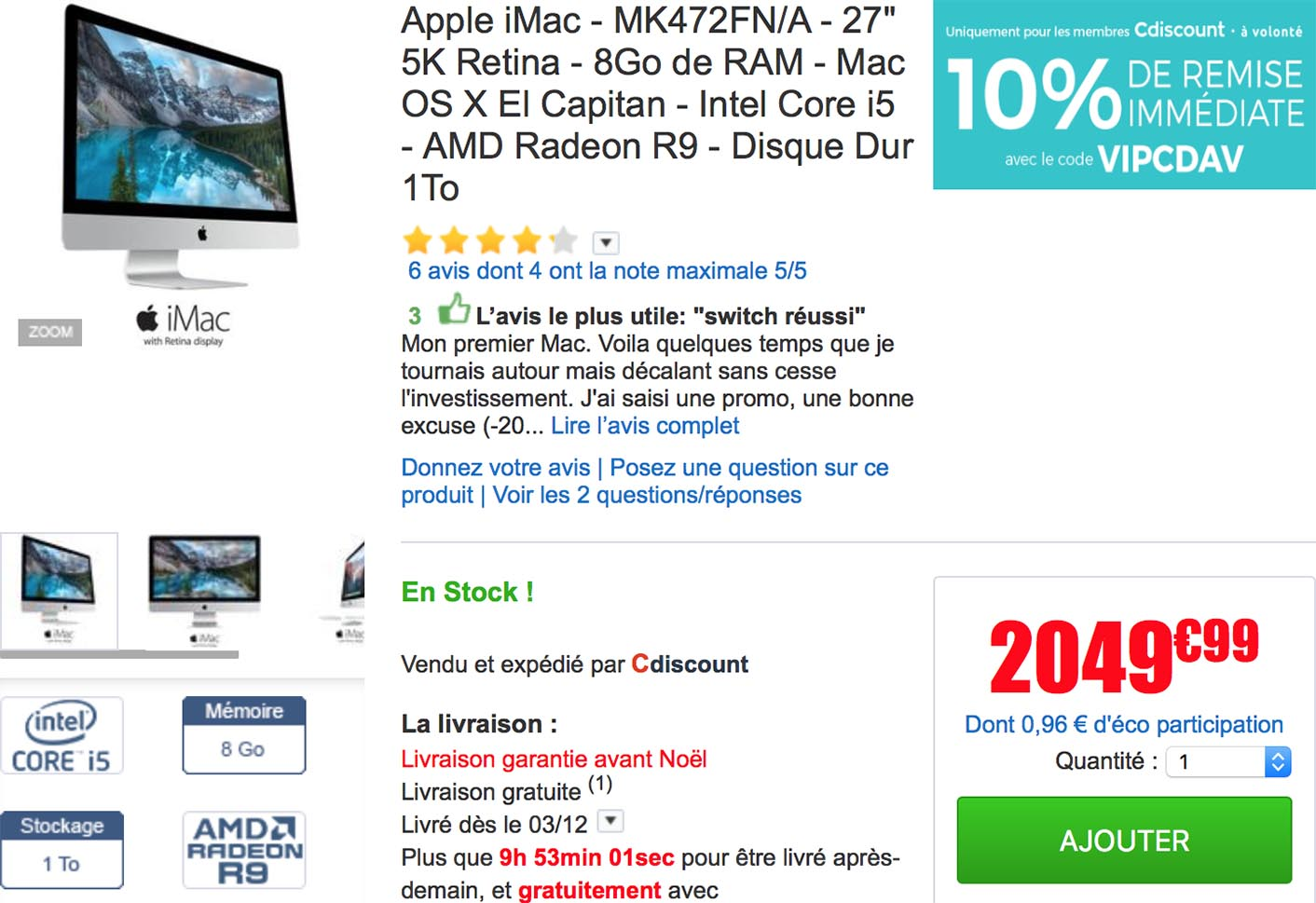 Promo iMac 5K CDiscount