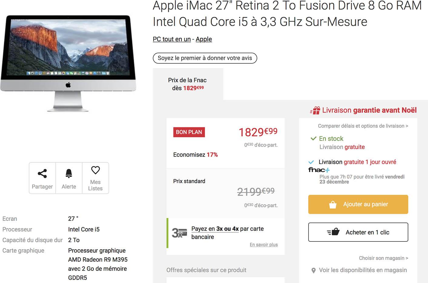 iMac 5K promo Fnac