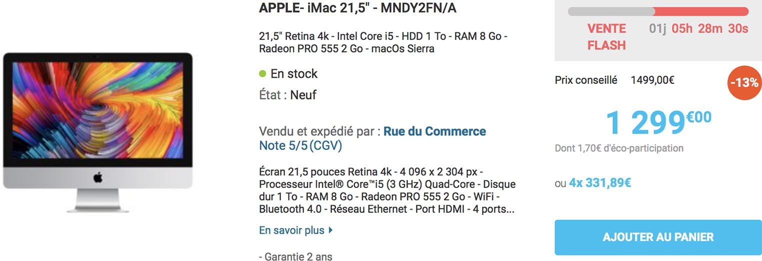 iMac vente flash Rue du Commerce
