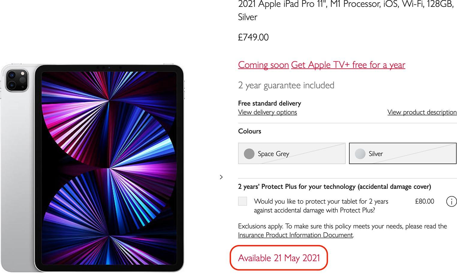 iPad Pro 21 mai John Lewis