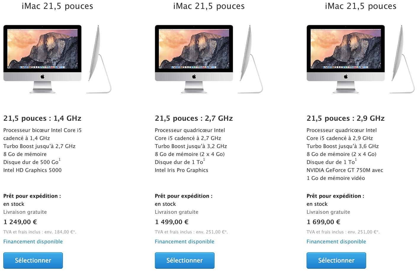 iMac tarifs 2015