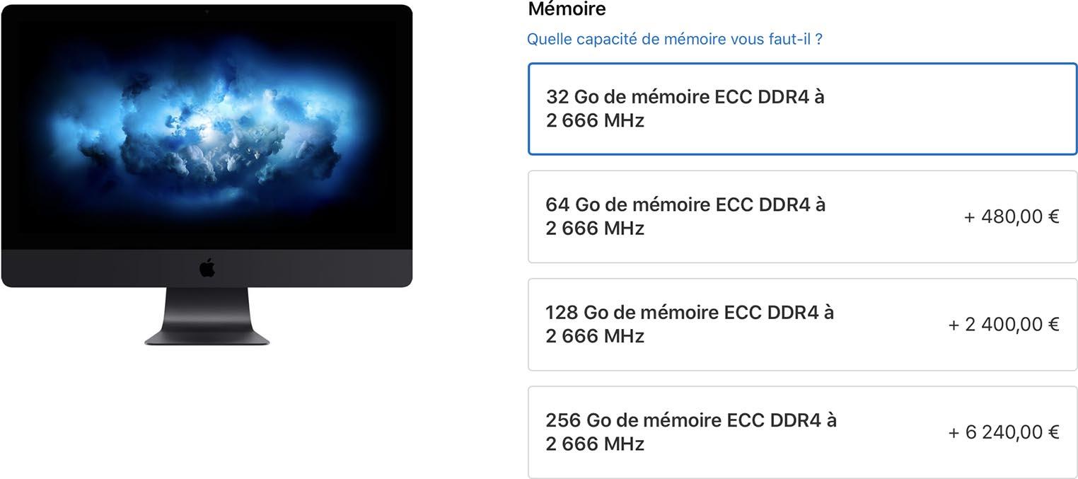 iMac Pro 256 Go de RAM