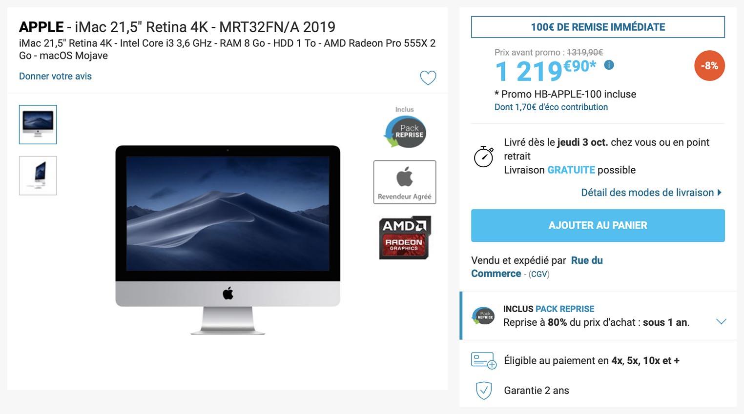 Promo iMac 2019 Rue du Commerce