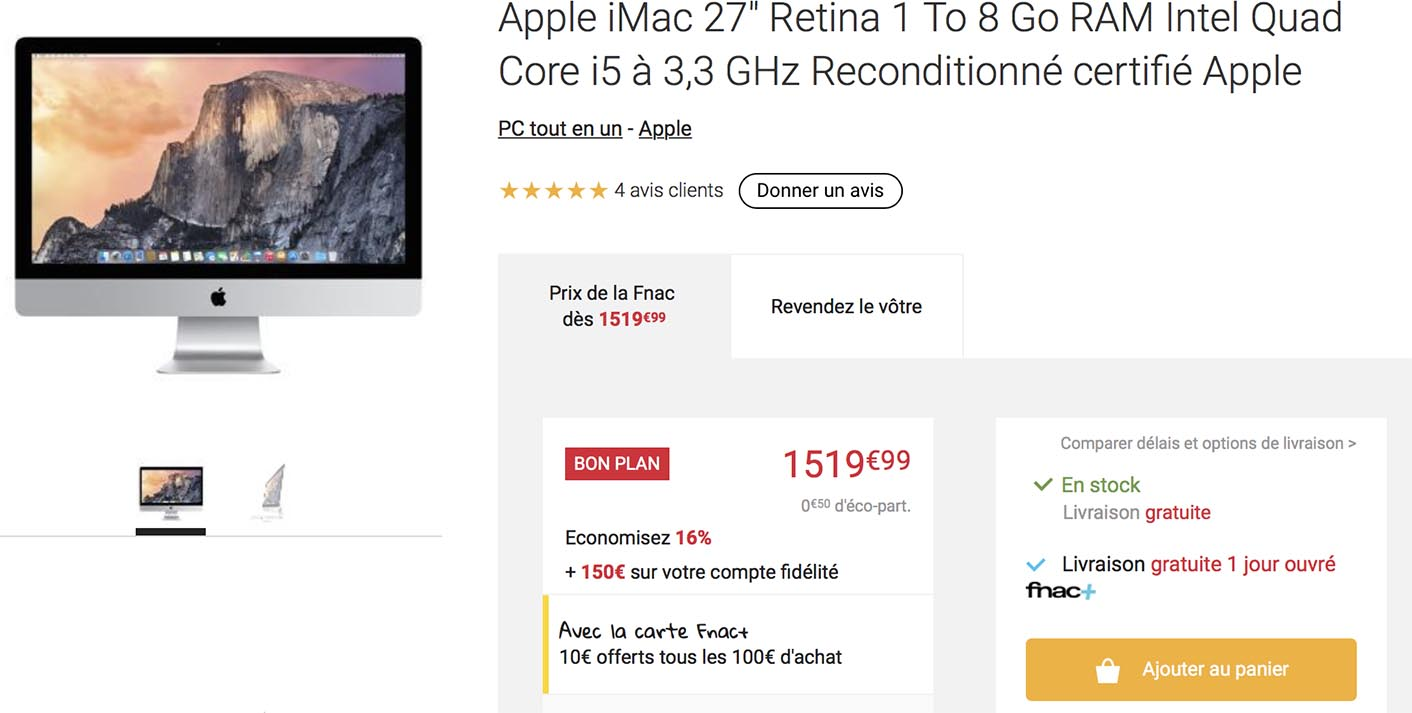 iMac Reconditionné Fnac