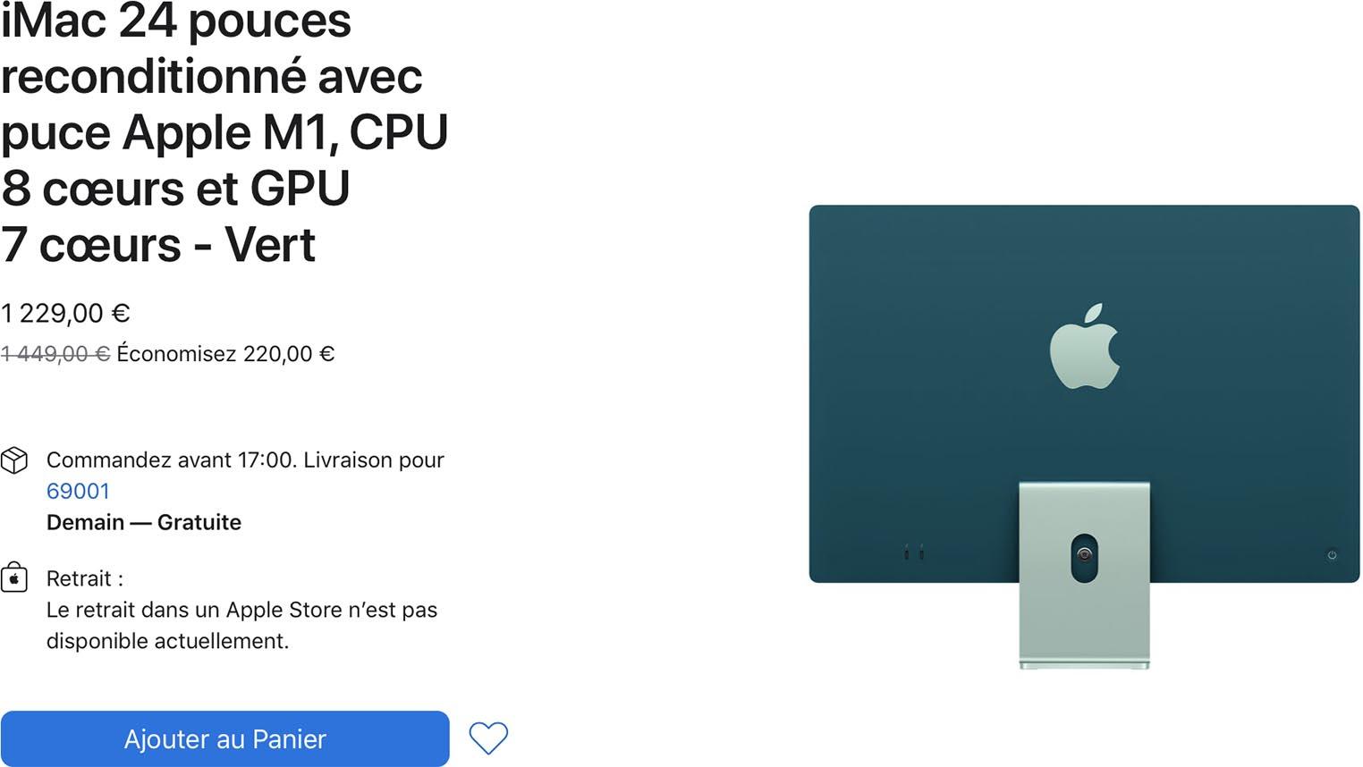 iMac M1 vert Refurb Store