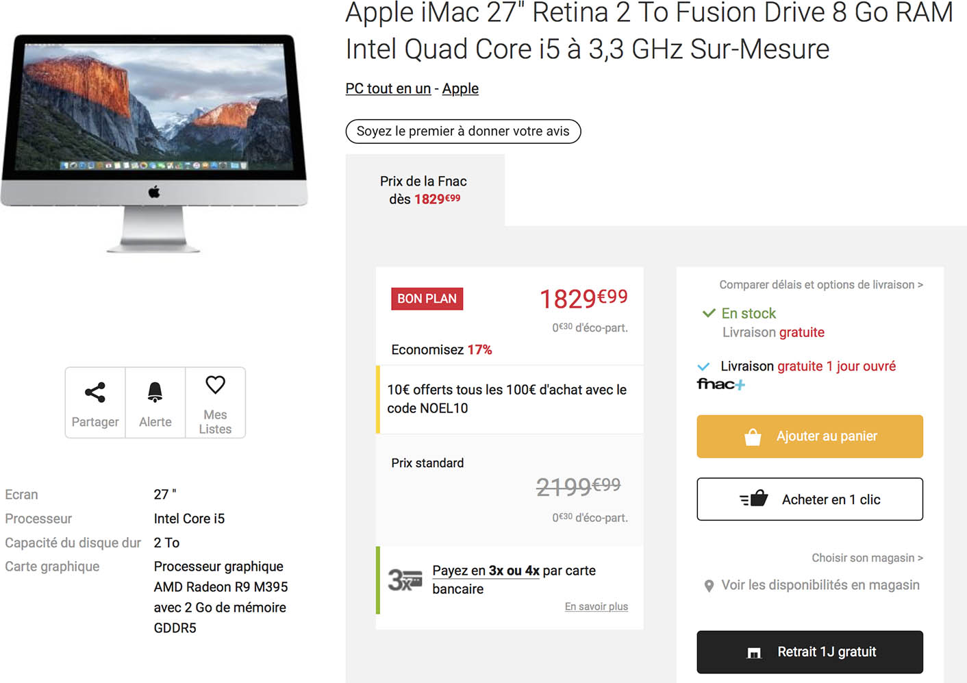 iMac Retina promo Fnac