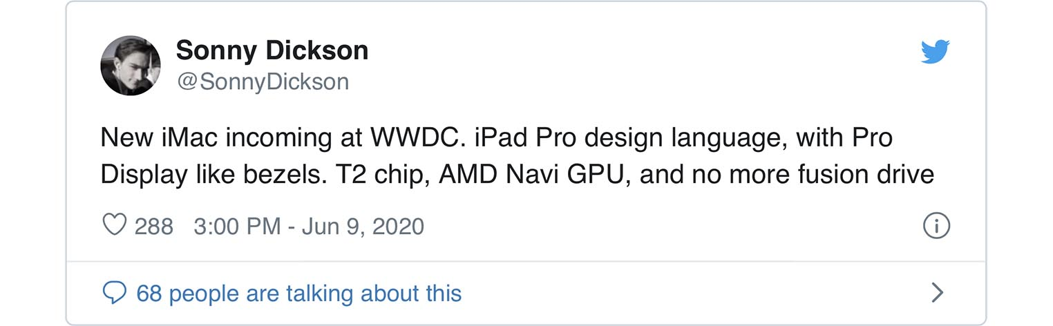 iMac 2020 WWDC tweet Sonny Dickson
