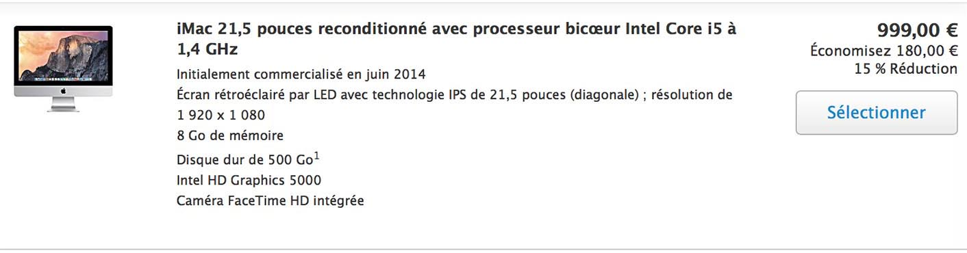 iMac 21 Refurb 999€