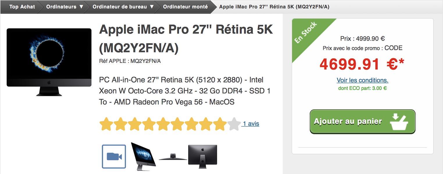 Vente flash iMac Pro Top Achat