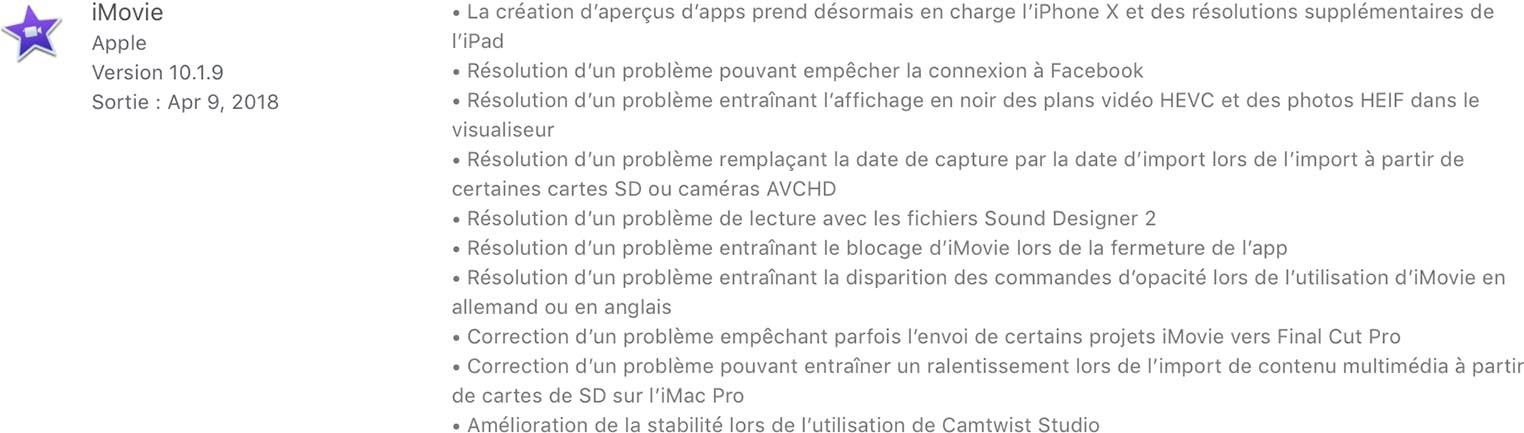 iMovie 10.1.9