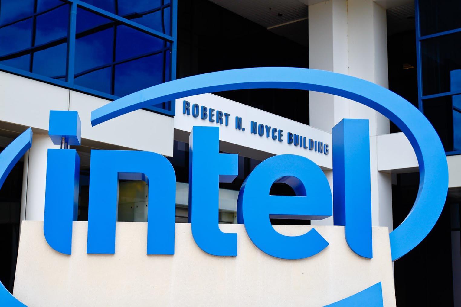 Intel logo building