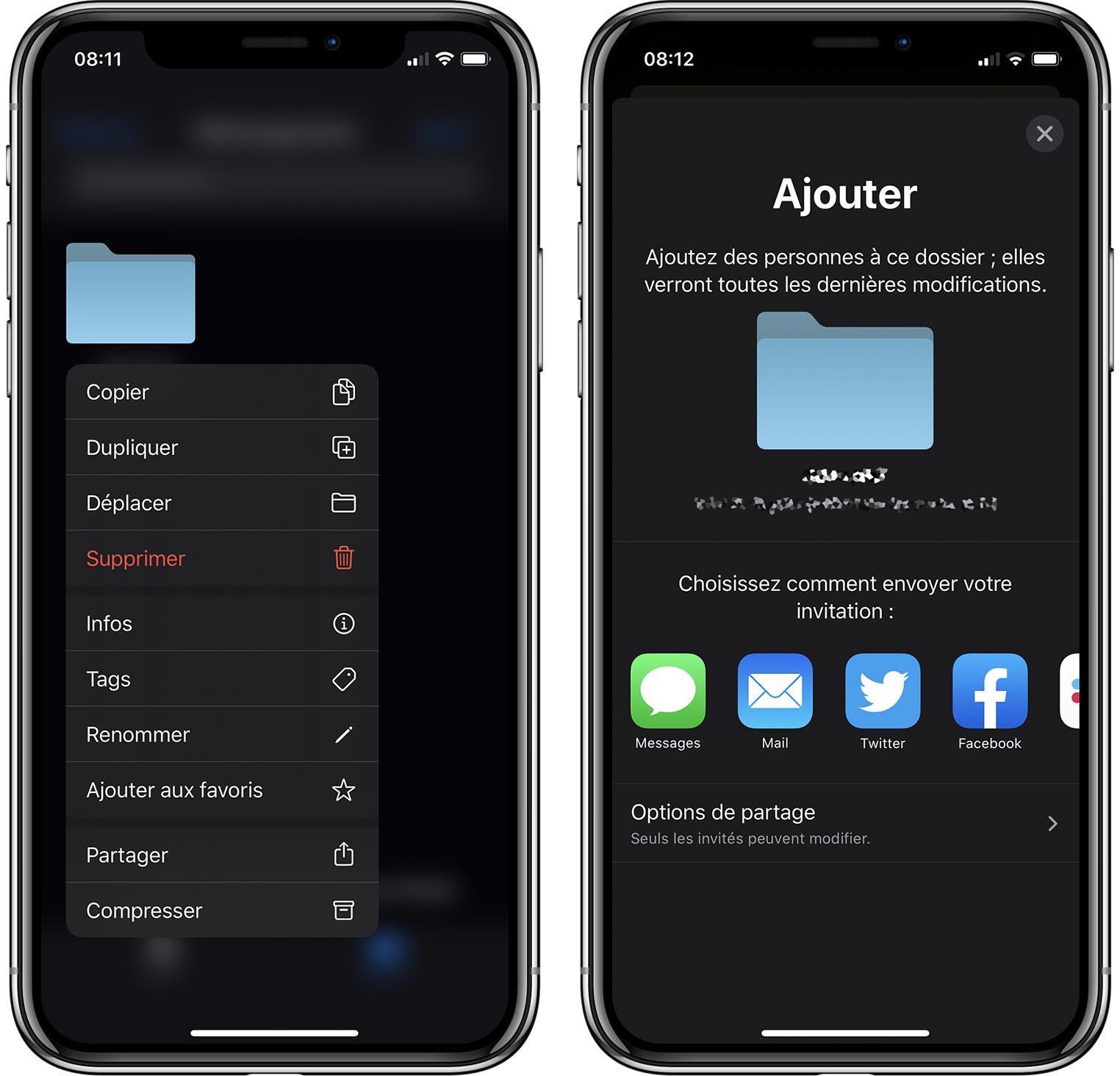 iOS 13.4 Partage iCloud