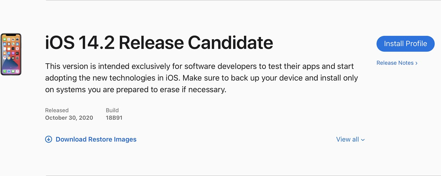 iOS 14.2 Release Candidate