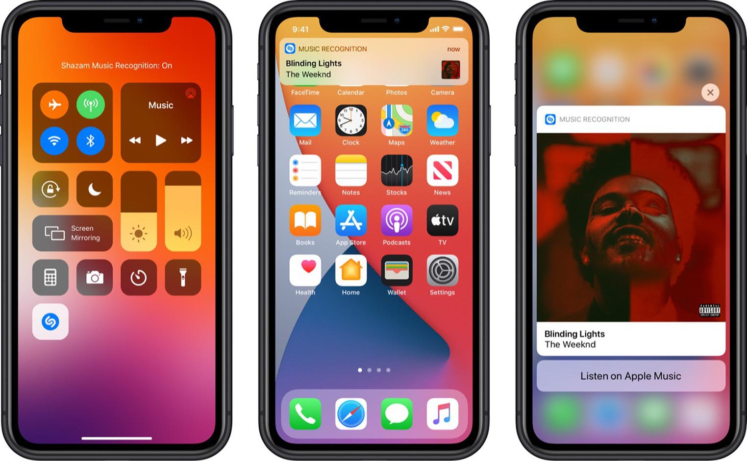 iOS 14.2 Shazam Centre de contrôle